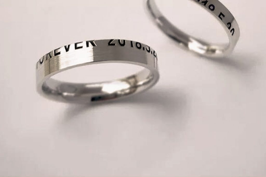 Names engraved wedding rings