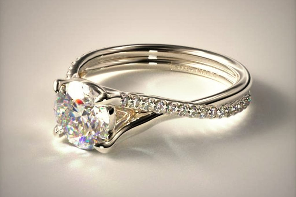Cushion cut twisted pave diamond ring