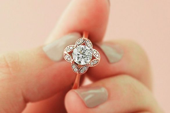 Floral inspired wedding rings