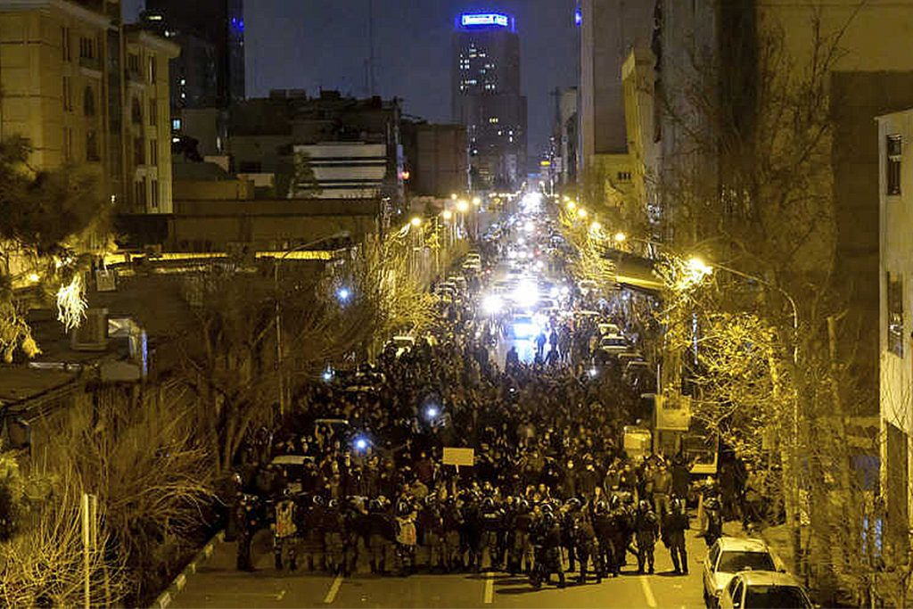 Protestors gather on the streets of Tehran